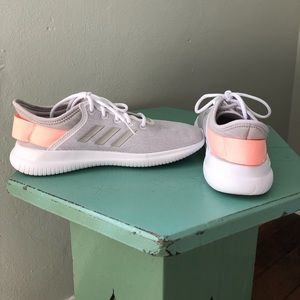 Adidas cloudfoam gray and coral running shoes